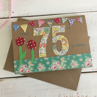 Happy 75th Embroidered Milestone Birthday Card