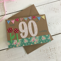 Happy 90th Embroidered Milestone Birthday Card