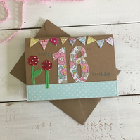 Textile Floral Embroidered Milestone Sweet 16 Birthday Card