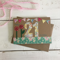 Happy 21st Embroidered Milestone Birthday Card