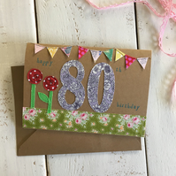 Happy 80th Embroidered Milestone Birthday Card