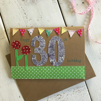 Happy 30th Embroidered Milestone Birthday Card