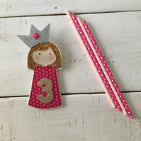 Made to Order Pink Princess Personalised Birthday Badge