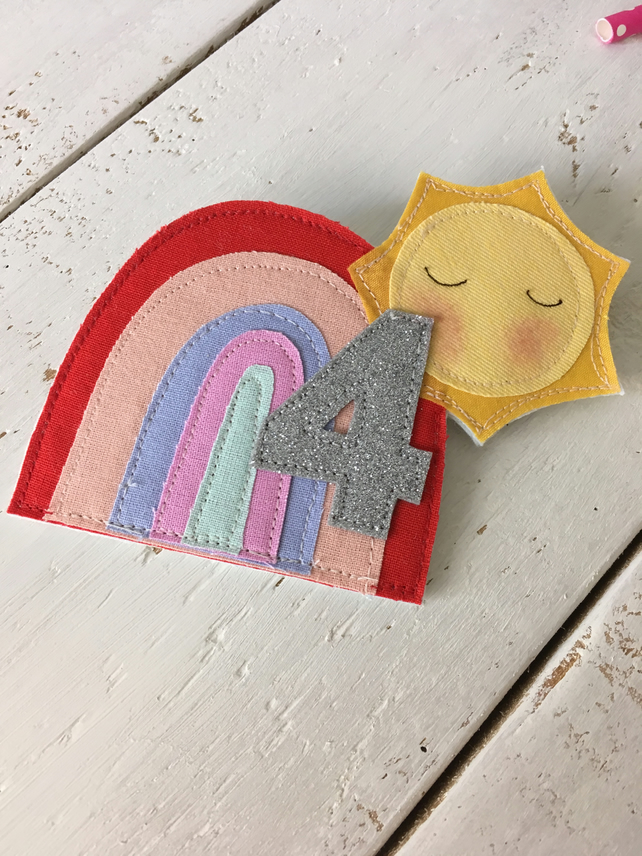 Made to Order Sun and Rainbow Personalised Birthday Badge