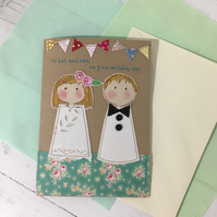 Personalised Bride & Groom Embroidered Wedding Card A5