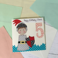 Personalised Knight Embroidered Birthday Card - made to order -