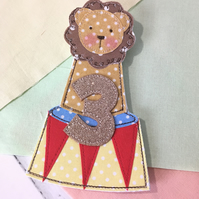 Made to Order Circus Lion Age Birthday Badge