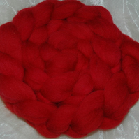 """Absolute Red"" MHE Shropshire Lambswool Spinning Fibre 110g"