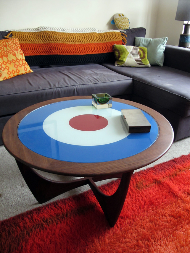 Astro Coffee Table.G Plan Round Astro Coffee Table With Mod Target Glass 1960 S Sixties