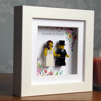 00018LW Mini Bride & Groom LEGO® Wedding customisable Wall Art Frame
