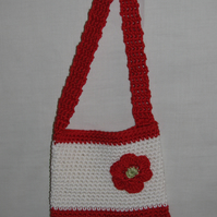 Child's Crochet Red and Cream Bag