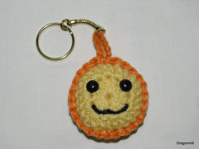 Crochet Smiley Keyring with Orange  Border