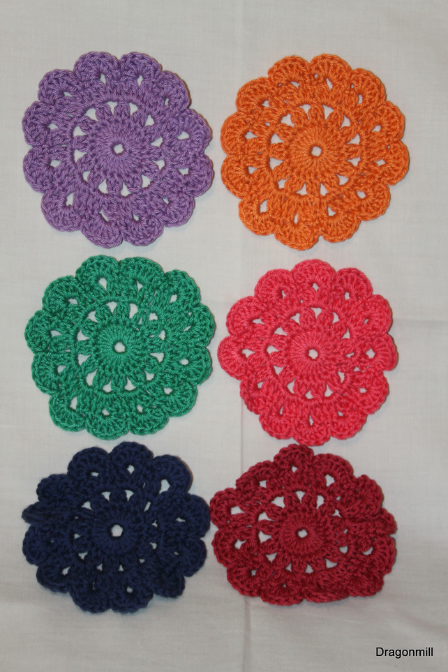 Set of Six Crochet Cotton Coasters