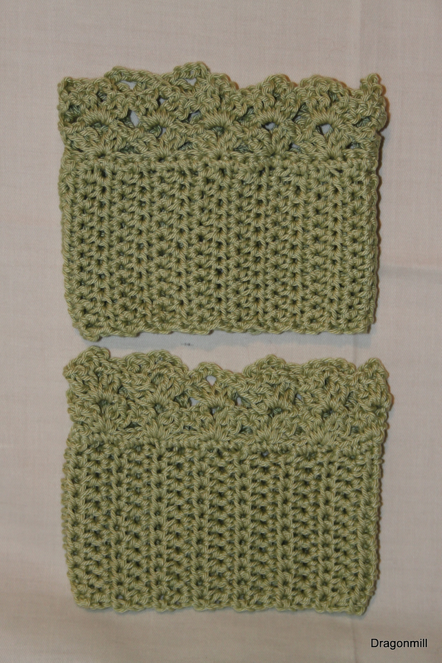 Light Green Cotton Crochet Boot Cuffs, Boot Toppers