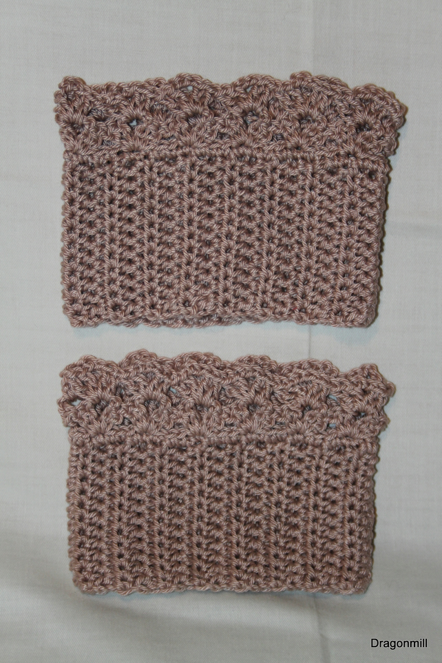 Natural Hessian Cotton Crochet Boot Cuffs, Boot Toppers