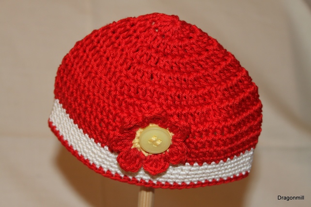 Baby Crochet Beanie Hat with Flower Detail