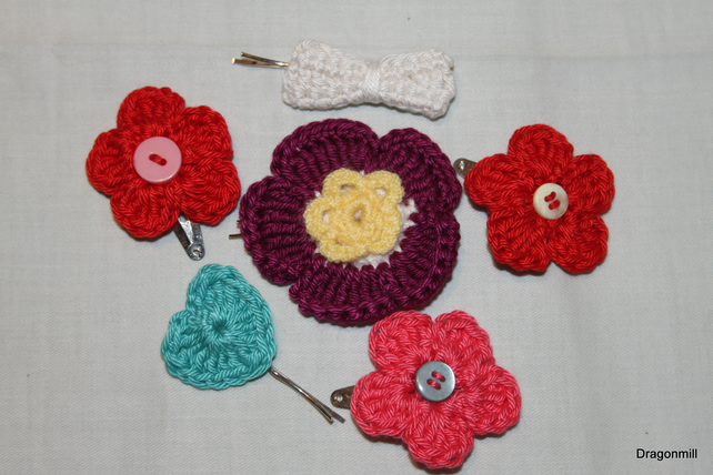 Six Crochet Hair Clips