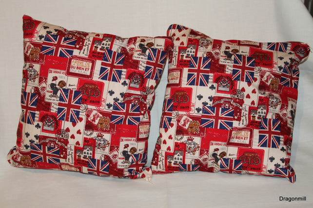 Two Cotton Red Blue and Cream Cushions Union Flags, Crowns, Various