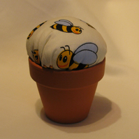 Flower Pot Pin Cushion With Bee Design