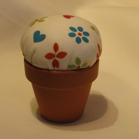 Flower Pot Pin Cushion With Floral Design