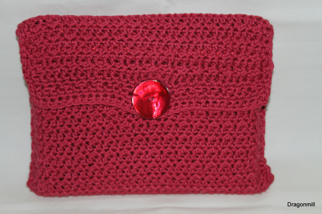 Crochet Cotton Clutch Bag With Silk Lining