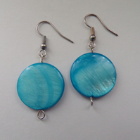 Blue Shell Earrings, Shell Earrings