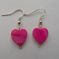 Shell Heart Earrings, Heart Earrings, Shell Earrings, Pink Heart Earrings