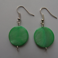 Shell Earrings, Green Shell Earrings