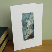 Seashore Art handmade greeting card with sea glass