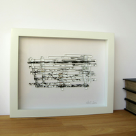Fragile Shore Sea View, original fused glass and stitch artwork
