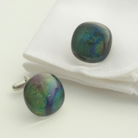 Peacock Fused Glass Cufflinks