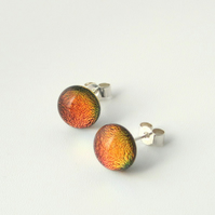 Autumn red glass stud earrings