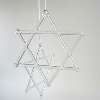 6 point Star, recycled glass Christmas decoration