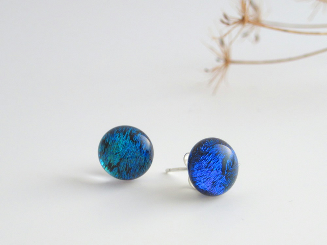 Stud earrings, Mediterranean blue iridescent glass