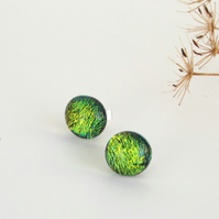 Stud earrings, autumn leaves glass and sterling silver