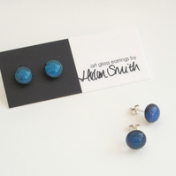 Teal Sparkle glass and silver stud earrings