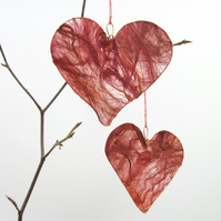 Silk Fusion Heart, hanging decoration, dark red