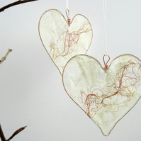 Silk Heart, hanging decoration, red and white