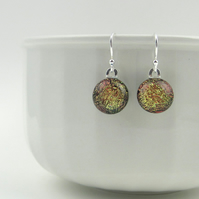Iridescent glass drop earrings, red-gold fused glass, sterling silver earwires
