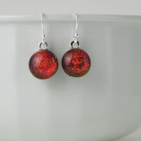 Red drop earrings, sterling silver earwires, fused glass