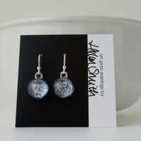 Silver dichroic glass drop earrings, sterling silver earwires