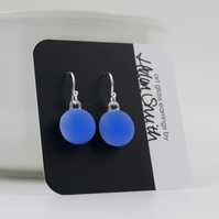 Periwinkle blue drop earrings, fused glass, sterling silver earwires