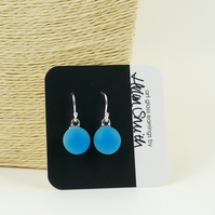 Turquoise drop earrings, fused glass, sterling silver earwires