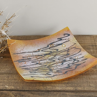 Golden Yellow Art Glass Dish - Ripples