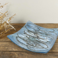 Small Blue Art Glass Dish