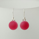Raspberry Pink drop earrings, fused glass, sterling silver earwires