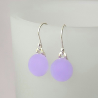 Lilac satin glass drop earrings, fused glass, sterling silver earwires