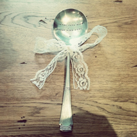 Made with Love, Served with Care Hand Stamped Vintage Serving Spoon