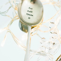 Get Well Spoon Hand Stamped Vintage Table Spoon