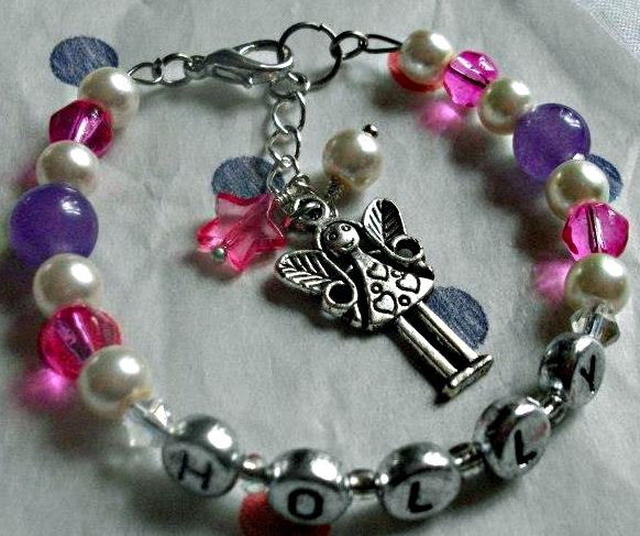 Childrens Personalised Pearl Pink and Lilac Fairy Princess Bangle Bracelet